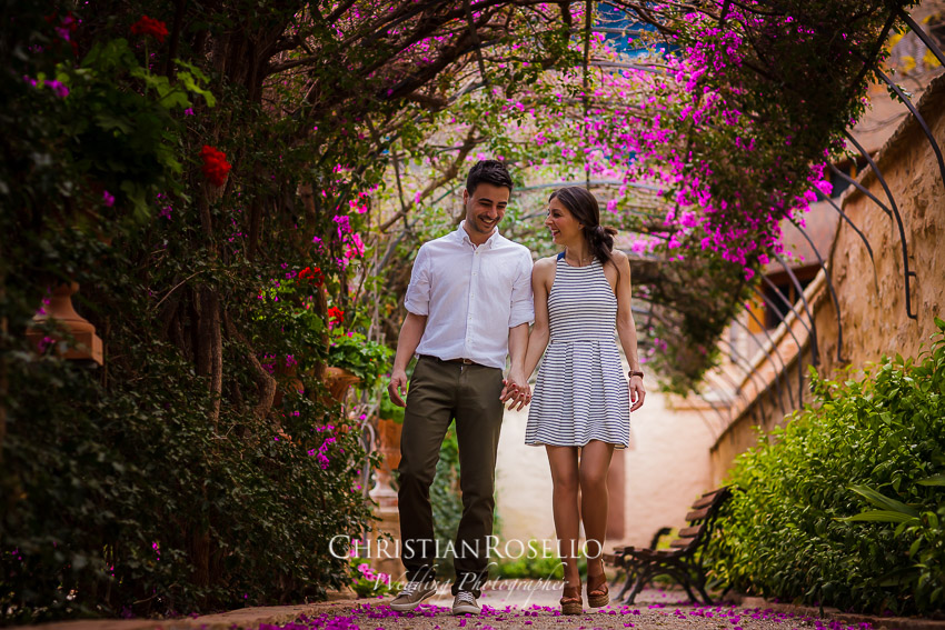 Pre Boda en Jardines de Monforte Valencia, Natalia e Iván. Christian Roselló Fotógrafo de Bodas con sede en Valencia